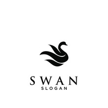 Black Swan Logo Icon Design Vector Illustration