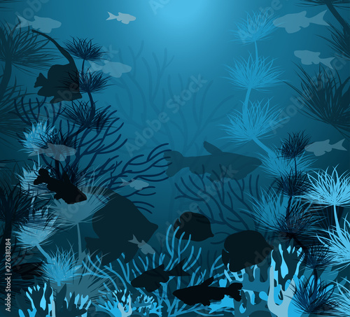 Poster Fire / Flame Underwater background with tropical fish, vector illustration