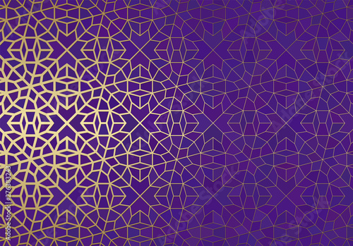 Stampa su Tela  Abstract background with islamic ornament, arabic geometric texture