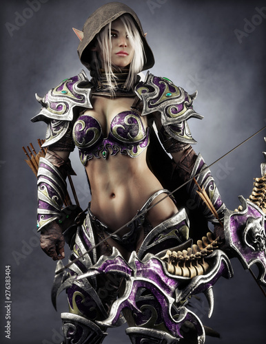 Portrait of a fantasy heavily armored hooded dark elf female archer warrior with white long hair and equipped with a bow . 3d rendering . Fantasy illustration