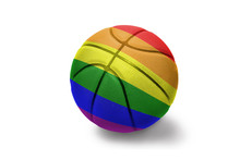 Basketball Ball With The Gay Rainbow Flag On The White Background