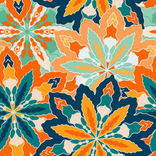 Ornate Floral Seamless Texture. Vivid Seamless Pattern With Flowers, Vector
