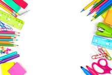 School Supplies Double Side Border. Top View Isolated On A White Background With Copy Space. Back To School Concept.