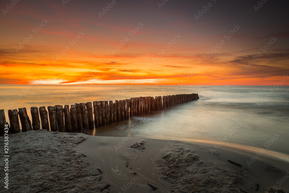 Fototapety, obrazy: Landscape of sea shore - long exposure photo of shoreline