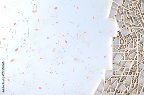 Valokuva  White background decor with wood shelves wall, branch,picture frame,petals blow
