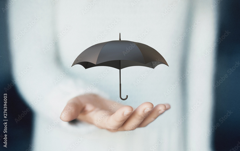 Fototapety, obrazy: Woman hand with a black umbrella