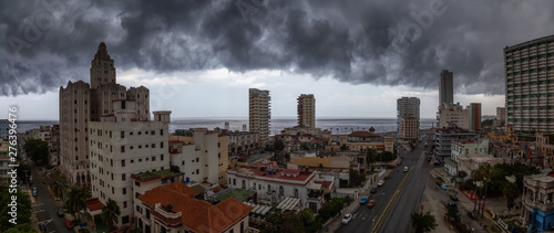 Garden Poster Brown Aerial Panoramic view of the Havana City, Capital of Cuba, during a dramatic storm cloud.