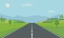 Straight Empty Road Through Th...