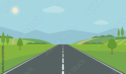 Poster Piscine Straight empty road through the countryside. Green hills, blue sky, meadow and mountains. Summer landscape vector illustration.