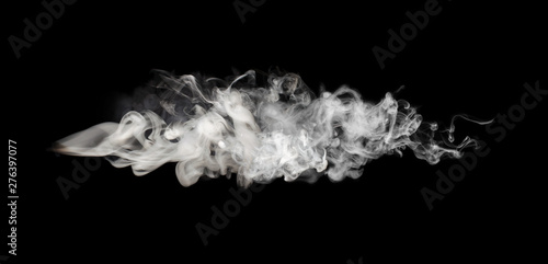 White smoke blot on Black. Abstract background.