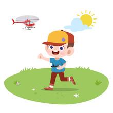 Kid Boy Play Remote Control Illustration
