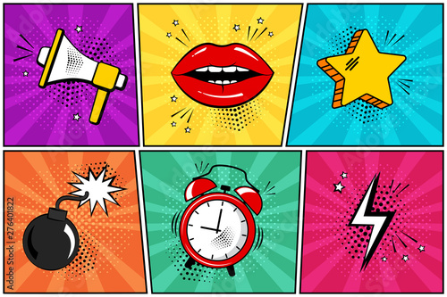Colorful set of comic icon in pop art style. Megaphone, lips, star, bomb, alarm clock, lightning. Vector illustration