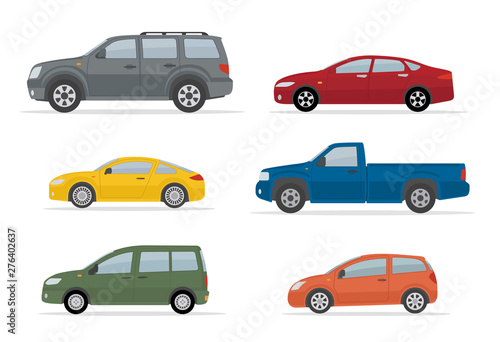 Photo sur Toile Cartoon voitures Collection of different cars. Isolated on white background. Side view. Flat style, vector illustration.