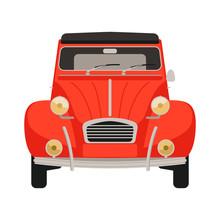 Red  Vintage Car,vector Illustration,flat Style