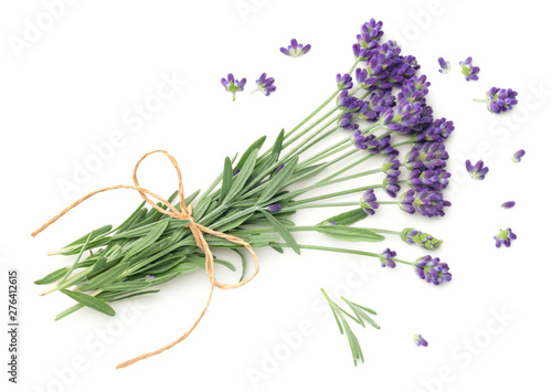 Photo sur Toile Lavande Lavender Flowers Bunch Isolated On White Background