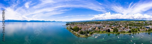 Panoramic aerial view of Morges city waterfront in the border of the Leman Lake in  Switzerland - 276417084