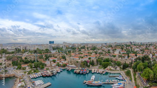 Photo Stands Nice View of the old Antalya from the height of the drone or bird's-eye view. This is the area of the old town and the old harbor.
