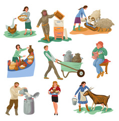 Set of different farmer people characters are feed farm animals
