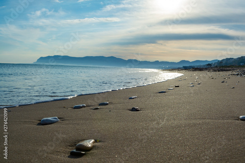 Coastline with sandy beach and clear sea water in Alcamo Marina, small town in S Canvas Print