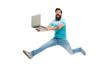 Fast internet. Technologies running world. Man run with modern laptop captured in motion. Never stop. Hipster surprised bearded web developer designer or programmer with laptop. Modern laptop concept