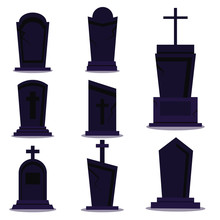Dark Tombstone Set For Happy Halloween Holiday On White Background With Shadow. Different Old Gravestone With Crack Cemetery Collection. Vector Flat Cartoon Style Illustration. Graphic Design Element.