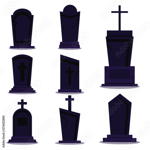 Leinwand Poster Dark tombstone set for happy halloween holiday on white background with shadow