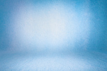 Blue Photo Backdrop Wall And Floor Lit By Lamps, Studio Background For Photos. Studio Portrait Backdrops Photo