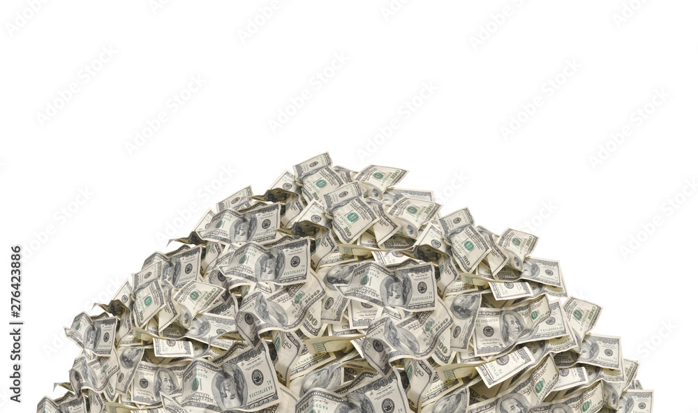 Fototapety, obrazy: Pile with american one hundred dollar bills isolated on white background