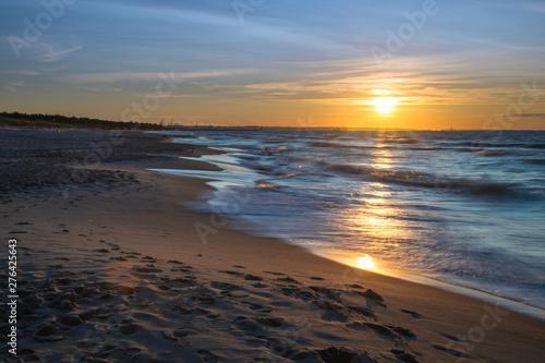 Zachód słońca nad Zatoką Gdańską, bałtyk