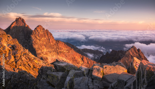 Deurstickers Lichtroze Mountains Landscape with Inversion in the Valley at Sunset as seen From Rysy Peak in High Tatras, Slovakia