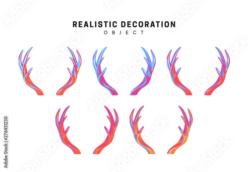 Canvas-taulu Set of deer and elk antlers with gradient holographic color of holograms
