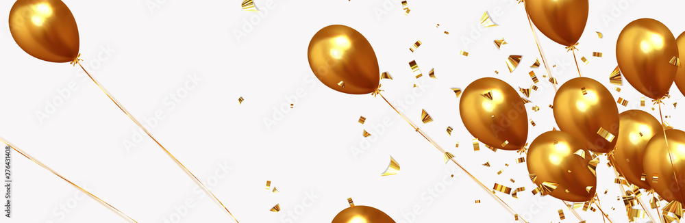 Fototapety, obrazy: Festive background with helium balloons. Celebrate a birthday, Poster, banner happy anniversary. Realistic decorative design elements. Vector 3d object ballon, golden color. Falling shiny confetti