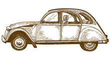 Engraving Drawing Illustration Of Vintage Car