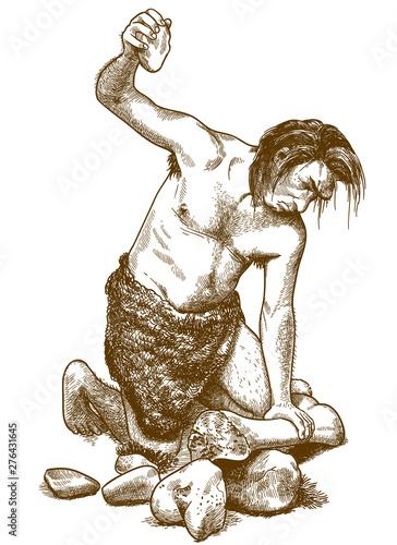 Photo engraving illustration of caveman
