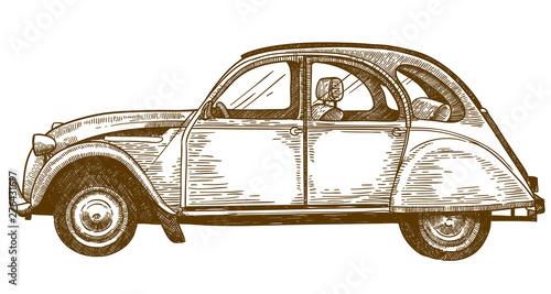engraving drawing illustration of vintage car