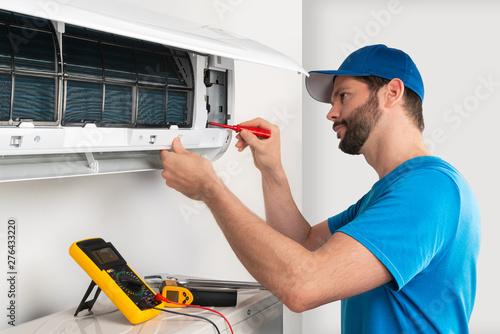 Installation service fix  repair maintenance of an air conditioner indoor unit b Canvas Print