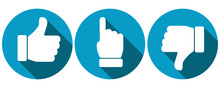 Symbols For Thumbs Up, Pointing Finger And Thumbs Down