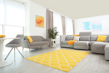 Living Room With Modern Furniture And Stylish Decor. Color Ideas For Interior