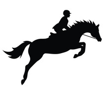 Vector Flat Black Silhouette Of Show Jumping Horse And Rider Isolated On White Background