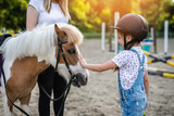 Cute little girl and her older sister enjoying with pony horse outdoors at ranch.