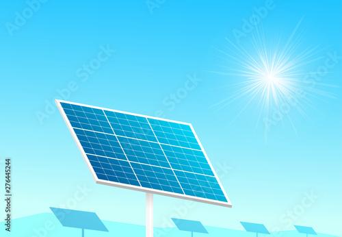 Foto auf AluDibond Licht blau Solar panels in farm with blue sky and sun light