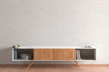 Cabinet In Living Room Interior And Blank White Brick Wall.