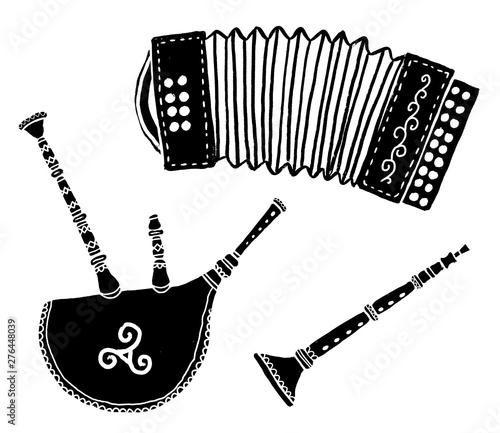 Obraz na plátně Set of traditional breton music instruments popular in France and Brittany: diat