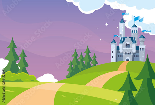 Photo castle building fairytale in mountainous landscape