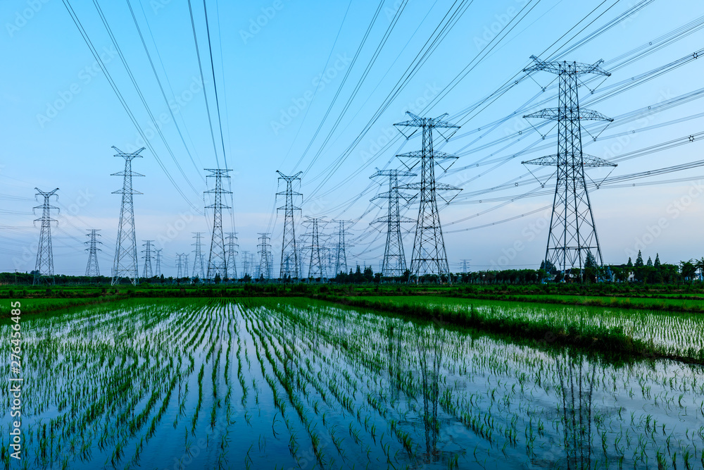 Fototapety, obrazy: High voltage post,High voltage tower sky background