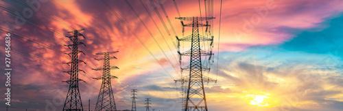 High voltage post,High voltage tower sky sunset background