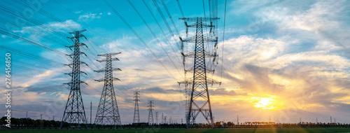 Obraz na płótnie High voltage post,High voltage tower sky sunset background