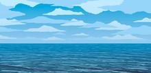 Vector Blue Calm Ocean Shore