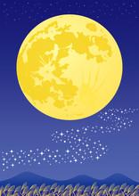 お月見 月見会 広告 A4 チラシ