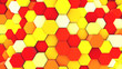 canvas print picture 3d render abstract colorful many technical geometric hexagons as a wave Yellow and orange background. lights ray shine glow beam